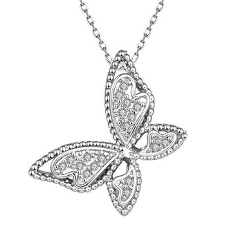 White Gold Plated Large Butterfly Necklace