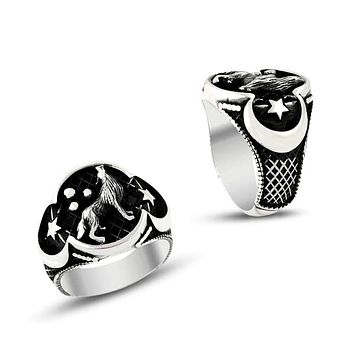 Wolf crescent star sterling silver blacked mens ring