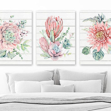SUCCULENT Flower Wall Art Decor, Succulent Flower Bedroom Art, Flower Wood Design Canvas or Print, Succulent Flower Bathroom Decor, Set of 3