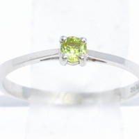 3mm Genuine Peridot Round Ring .925 Sterling Silver Rhodium Finish White Gold Quality