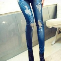 Women BIG Ripped Effect Denim Print Fake Jeans Ankle Length Footless Legging