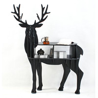 Deer Animal Shaped Wooden Bookcase Shelve Table Creative DIY Home Decoration Coffee Desk