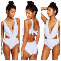 Cutout Side V-Neck Back Tie Swimsuit