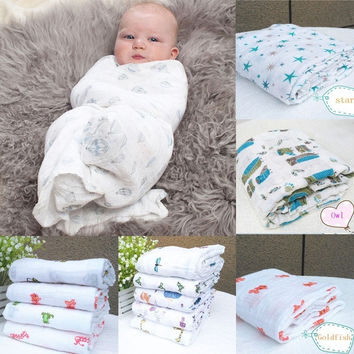 Nursery Muslin Baby Swaddling Blanket Newborn Infant 100% Cotton Swaddle Towel = 1929777668