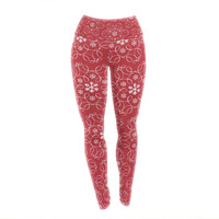 "Heidi Jennings ""Christmas Spirit"" Red Yoga Leggings"