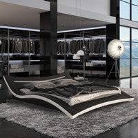 King size Modern Platform Bed in Wenge with White Leather Headboard