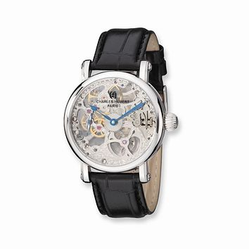Charles Hubert Mens Stnlss Stl Black Leather Strap Skeleton Dial Watch