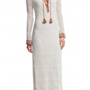 Thelka Cotton Crochet Lace-up Maxi | Calypso St. Barth