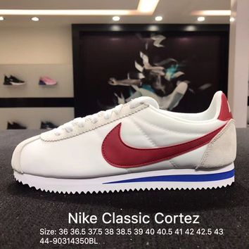 Nike Classic Cortez Suede White Red Women's Men's Sport Running Shoes