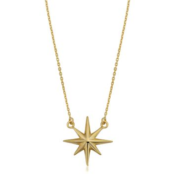"""10K Yellow Gold North Star Pendant On 18"""" Necklace"""
