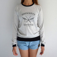 Hogwarts Quidditch Long Sleeve Tshirt Harry Potter Sweater Hogwarts Sweatshirt School of Witchcraft and Wizardry
