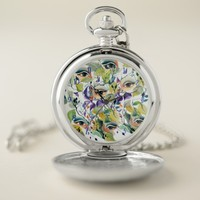 Utopian Avant-Garde Surreal Eyes Design Pocket Watch