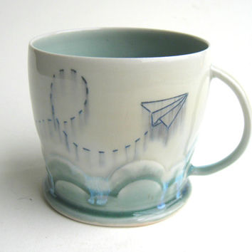 MADE TO ORDER Cloudy Paper Airplane Porcelain Mug