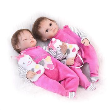 Hot 17 Inch Twins Doll Reborn Babies Soft Silicone Newborn Dolls Open and Sleeping Girls For Children Birthday Gifts Baby Toys