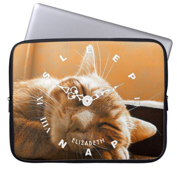 Cool Funny Cat Sleeping And Napping Clock Laptop Sleeve