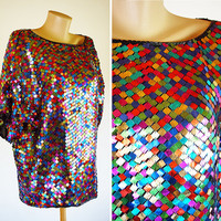 Vintage 80s Oliver James sequin mirror glitter paillette disco colorful top shirt tunic oversized Studio 54 glam fabulous pearls shiny