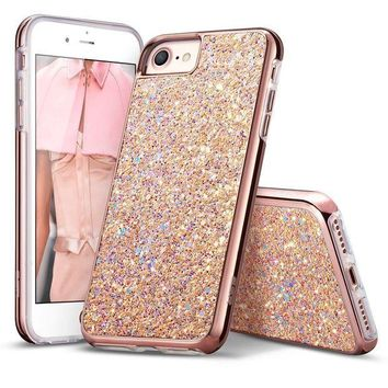 CREYRQ5 iPhone 7 Case,iPhone 6 Case,ESR Bling Glitter Sparkle Dual Layer Shockproof Hard PC Back + Soft TPU Inner Shell Skin for 4.7' iPhone 7/6(Metallic Peach)
