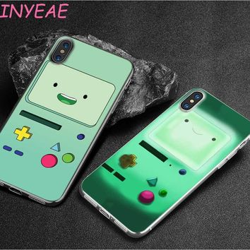 BINYEAE Adventure Time Beemo Jake Finn Lumpy Style Clear Soft TPU Phone Cases for Apple iPhone X 8 7 6 6s Plus 5 5S SE 5C