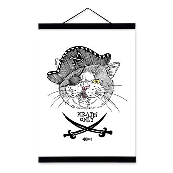 Modern Vintage Retro Pirate Anmial Cat A4 Big Wooden Framed Canvas Painting Wall Art Print Picture Poster Hanger Kids Room Decor