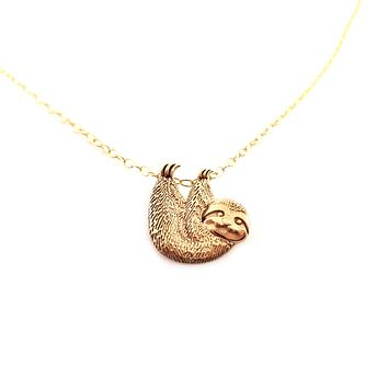 Sloth Charm Necklace - Dainty 14k Gold Filled Jewelry - Gift for Her