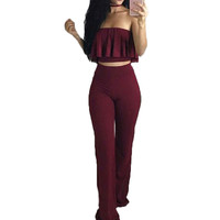 Jumpsuit Long Pants Women Bodysuit Sexy Strapless Ruffles Crop Top 2 Pieces Jumpsuit Romper Elegant Night Club Party Overalls
