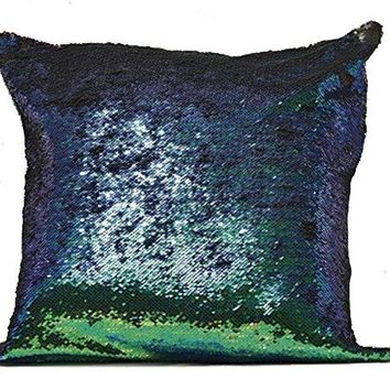 Emerald Green and Black Sequin Throw Pillow