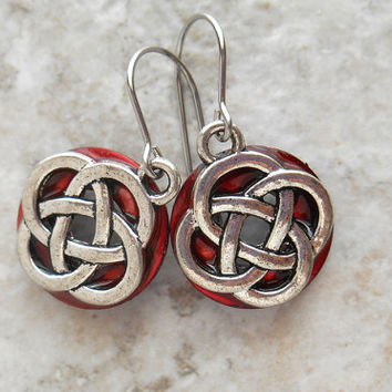 celtic knot earrings: red - dangle earrings - irish earrings - celtic jewelry - endless knot - unique gift - mothers day - colorful earrings