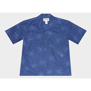 KY's Mens Blue Button Down Hawaiian Shirt with Palm Trees