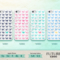 Whale iPhone 4s case Cute Whale Colorful Pattern iPhone case iphone 4 case iphone 4s case iphone 5c case Hard or Soft Case-WH01