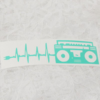 1.75x6 Inch Large Boombox Lifeline EKG Heart Monitor Retro Music Is Life Graphic Permanent Vinyl Decal/Bumper Sticker