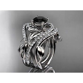 Unique 14kt white gold diamond wedding, engagement ring Black Diamond ADLR222S