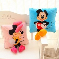 1PC 35cm Creative 3D Mickey Mouse and Minnie Mouse Plush Pillow Kawaii Mickey and Minnie Plush Toys Kids Toys Christmas Gifts