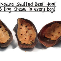 Dog Chew Toy - 3 Stuffed Beef Hooves - Homemade Dog Treats - Enrique's Place