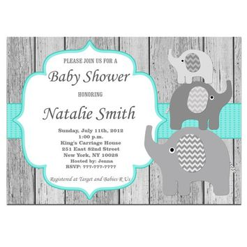 Baby Shower Invitations, Elephant Baby Shower Invitation Boy Girl Gender Neutral Printable, Baby Boy Shower Invites, Instant Download 01-1w1