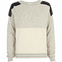 Grey leather-look shoulder dolman top - sweaters / hoodies - t shirts / tanks / sweats - women
