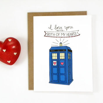 Dr. Who Valentine's Day Card - Tardis - Two Hearts