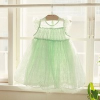 Green Vintage Inspired Mint Dress For Girls