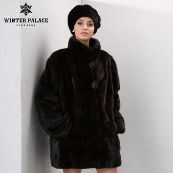2017 Winter Genuine Leather women mink fur coat fashion fur coats for women fur Jackets mink coat women