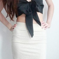 Black Party Top - Black Silk Bow Bandeau Cropped | UsTrendy