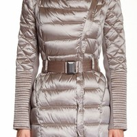 BCBG Max Azria Quilted Belted Down Coat XS Asymetrical Collar Champagne~ NWT