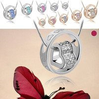 Fashion Women's Beautiful Love in Circle Heart Design Crystal Pendant Necklace Chain Jewelry 10 Colors = 1946625988