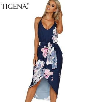 TIGENA Floral Women Summer Dress Short Front Long Back Bandage Backless Tunic Boho Maxi Beach Dress and Sundress Robe Femme