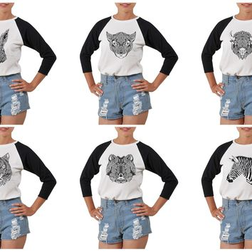 Women's Animals head Tattoo Printed Elbow Sleeves T- Shirt WTS_03
