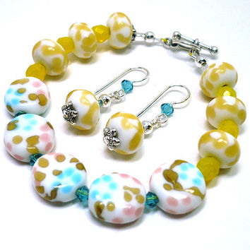 Speckled Yellow Blue Tan Spring Lampwork Bracelet and .925 Earrings