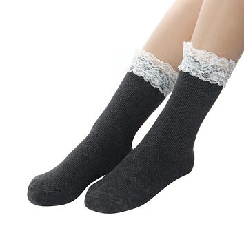 Japanese Women White Lace Ankle Socks Lovely Ladies Princess Frilly Sock With Lace Retro Lolita Ruffle Socks #OR