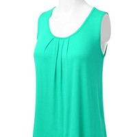 Women's Basic Soft Pleated Scoop Neck Sleeveless Loose Fit Tank Top S to 3XL