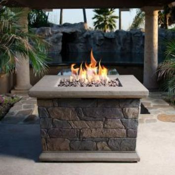 Bond Manufacturing, Corinthian 34 in. Square Envirostone Propane Fire Pit, 66596 at The Home Depot - Mobile
