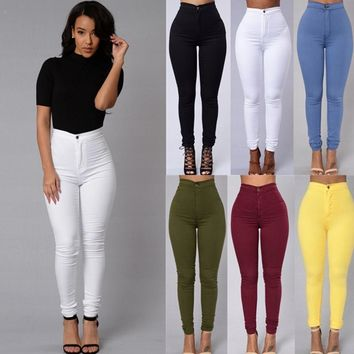 Slim Jeans For Women Skinny High Waist Jeans Woman Denim Pencil Pants Stretch Waist Women Jeans Black Pants Feminina