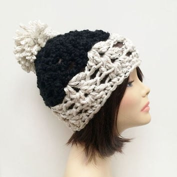 FREE SHIPPING - Crochet Chunky Beanie Hat with Pom Pom - Black, Cream, Oatmeal, Speckled, White