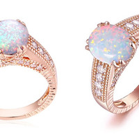 2.00 CTW White Fire Opal Engagement Ring in 18K Rose Gold Plating